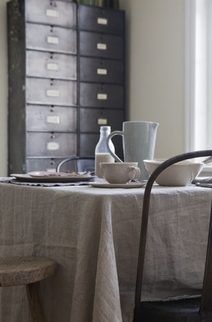... and a linen table cloth can soften the industrial look for special ocassions
