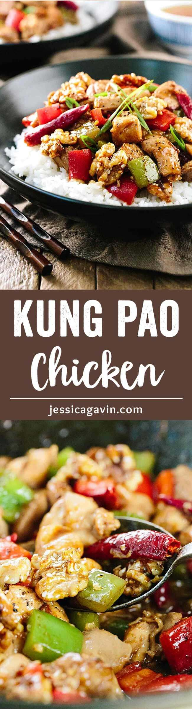 Kung Pao Chicken with Honey Glazed Walnuts - No need for take-out with this popular homemade Chinese recipe, get the meal you crave without all the extra fast food mystery ingredients. via @foodiegavin