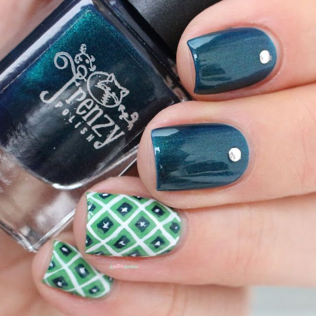 Frenzy polish Enigma collection - Illusory // Cactus green nail art