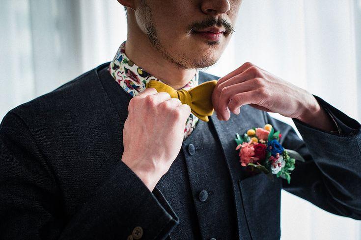 デニム素材のカジュアルなタキシードとウエディングスーツのレンタル・オーダーメイドを承ります。      #オーダータキシード #タキシード #新郎衣装 #カジュアルウェディング #レンタルタキシード #ウェディングスーツ #お色直し #二次会新郎衣装 #ノーカラー #ノーカラースーツ#lifestyleorder #ライフスタイルオーダー