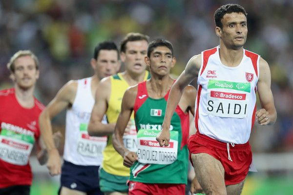 Abbes Saidi of Tunisia leads the pack in the men's 1,500 meter T38 fnal at Olympic Stadium during day 3 of the Rio 2016 Paralympic Games on September 10, 2016 in Rio de Janeiro, Brazil.
