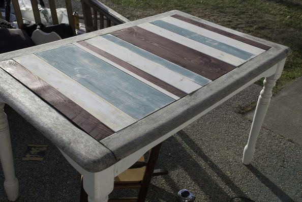 striped french farmhouse table, how to, painted furniture,  repurposing upcycling, woodworking projectshttp://www.hometalk.com/7944010/striped-french-farmhouse-table?se=fol_new-20150429&utm_medium=email&utm_source=fol_new&date=20150429