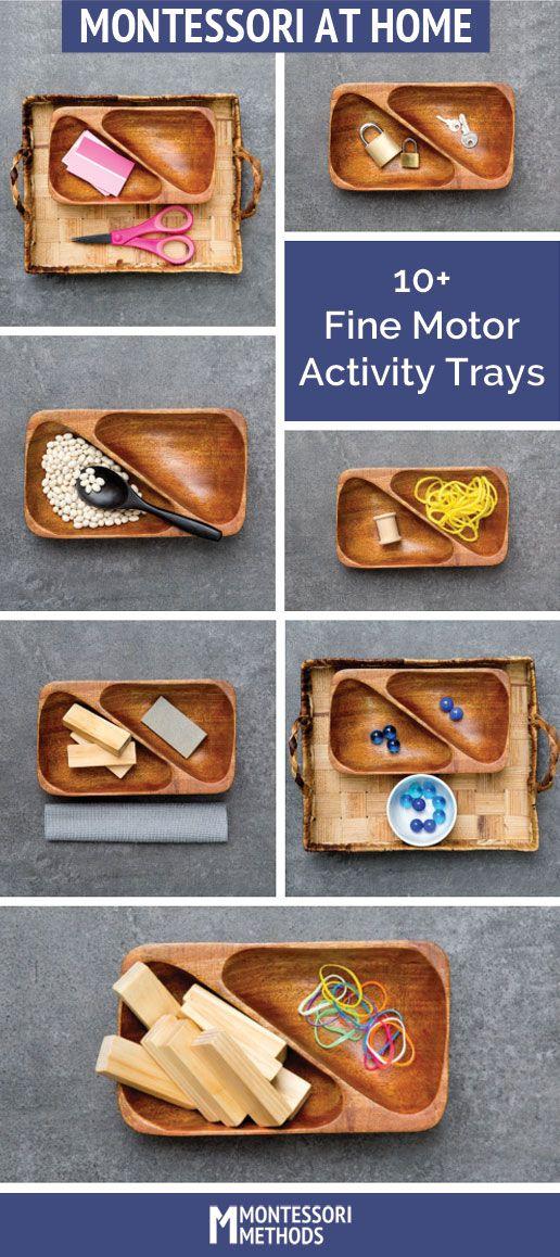 Montessori at Home Fine Motor Activity Trays you can DIY via MontessoriMethods.com