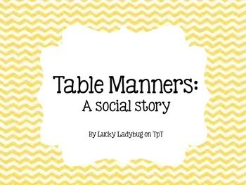 Social story about good manners in the cafeteria and at the table. There are 10 rules for good manners. Suitable for early childhood and special education classes. Goofy hand-drawn cartoons combined with real images make charming illustrations.