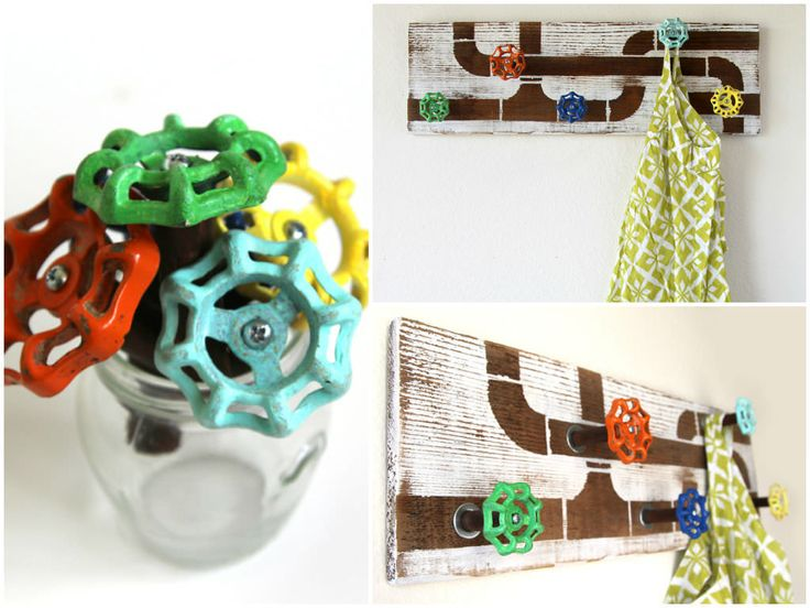 Make a cool faucet handle coat rack or towel hook with reclaimed fence wood and re-purposed water faucet handles! Follow the step by step tutorial at a piece of rainbow website!     #Industrial, #Recycled, #Upcycled