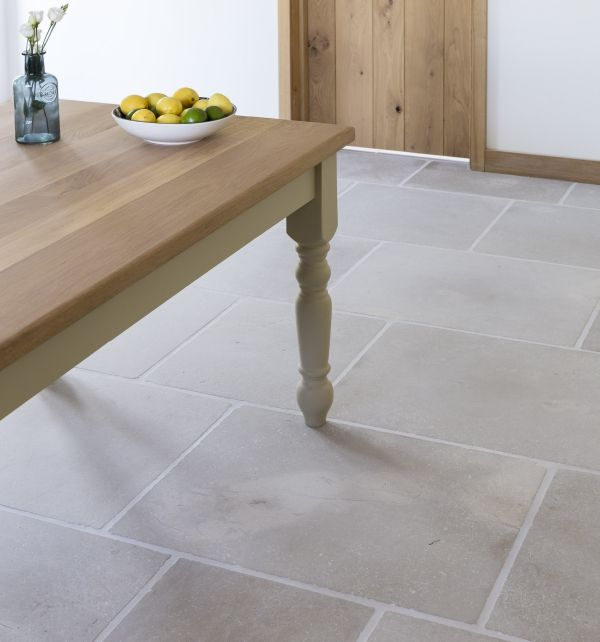 Eiffel grey limestone floor tiles. Simple limestone tiles from Ca' Pietra.