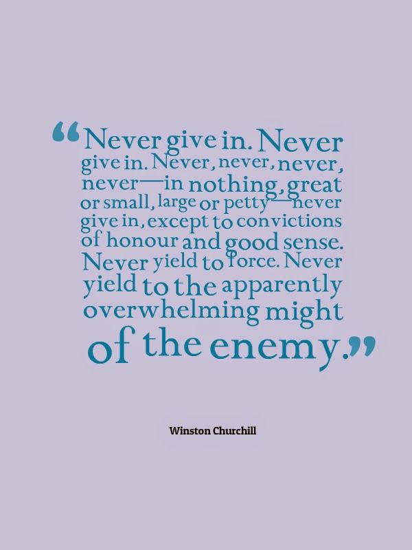 NEVER GIVE IN. Winston Churchill