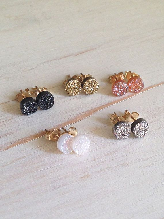 Druzy Studs Black Druzy Earrings Druzy Jewelry by RobinWoodard, $44.00