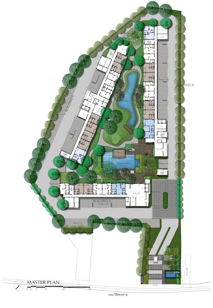 Centrio Condominium Phuket - Master Plan - ผังโครงการทั้งหมด แสดงตำแหน่งอาคารทั้ง 3 รวมทั้งสระว่ายน้ำขนาดใหญ่ สวนส่วนตัวและพื้นที่สีเขียวในโครงการ และสระน้ำ พื้นที่พักผ่อนธรรมชาติใจกลางเมืองภูเก็ต