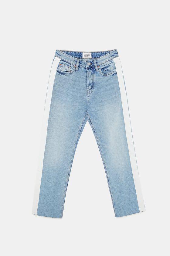 zara straight cut hi rise authentic jeans w side stripe woman