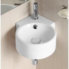 Bathroom Sink Round White Ceramic Wall Mounted Corner Bathroom Sink CA4296  Caracalla CA4296