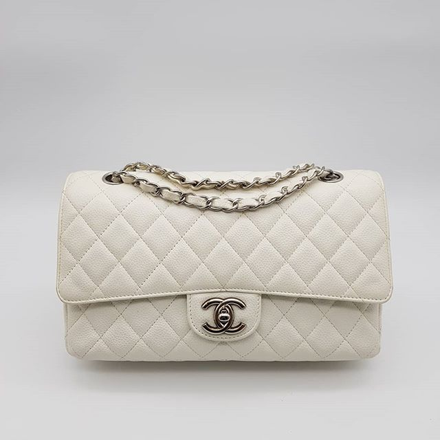 3500 Wire Preloved Chanel Classic Medium Double Flap White Caviar Leather Silver Hardware Serial Code Starti Chanel Classic Medium Chanel Classic Double Flap