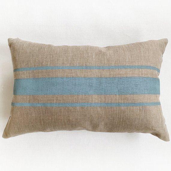 Items Similar To Grain Sack Pillow Modern Farmhouse Pillow Covers Large Lumbar Pillow Grainsack Striped Pillows Linen Pillow Cover Cottage Blue Pillow On E Grain Sack Pillows Contemporary Throw Pillows Farmhouse