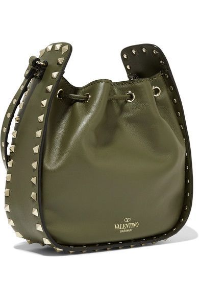 Valentino - The Rockstud Leather Bucket Bag - Army green  a2701fcb87d