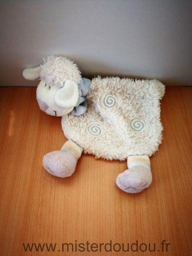 Doudou Mouton Kiabi baby Blanc bleu spirale