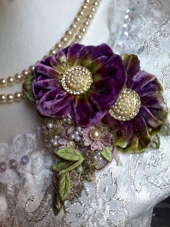 velvet shabby brooch corsage hair accessory velvet flowers