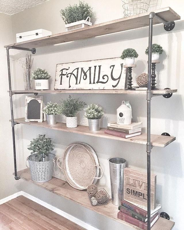 40 Farmhouse Shelving And Wall Decor Ideas Farmhouse Decor Living Room Farm House Living Room Industrial Farmhouse Living Room