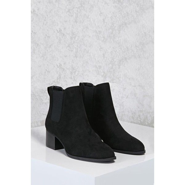 Forever21 Faux Suede Chelsea Boots ($33) ❤ liked on Polyvore featuring shoes, boots, ankle booties, ankle boots, black, slip on boots, platform chelsea boots, chelsea boots, faux suede booties and stacked heel booties