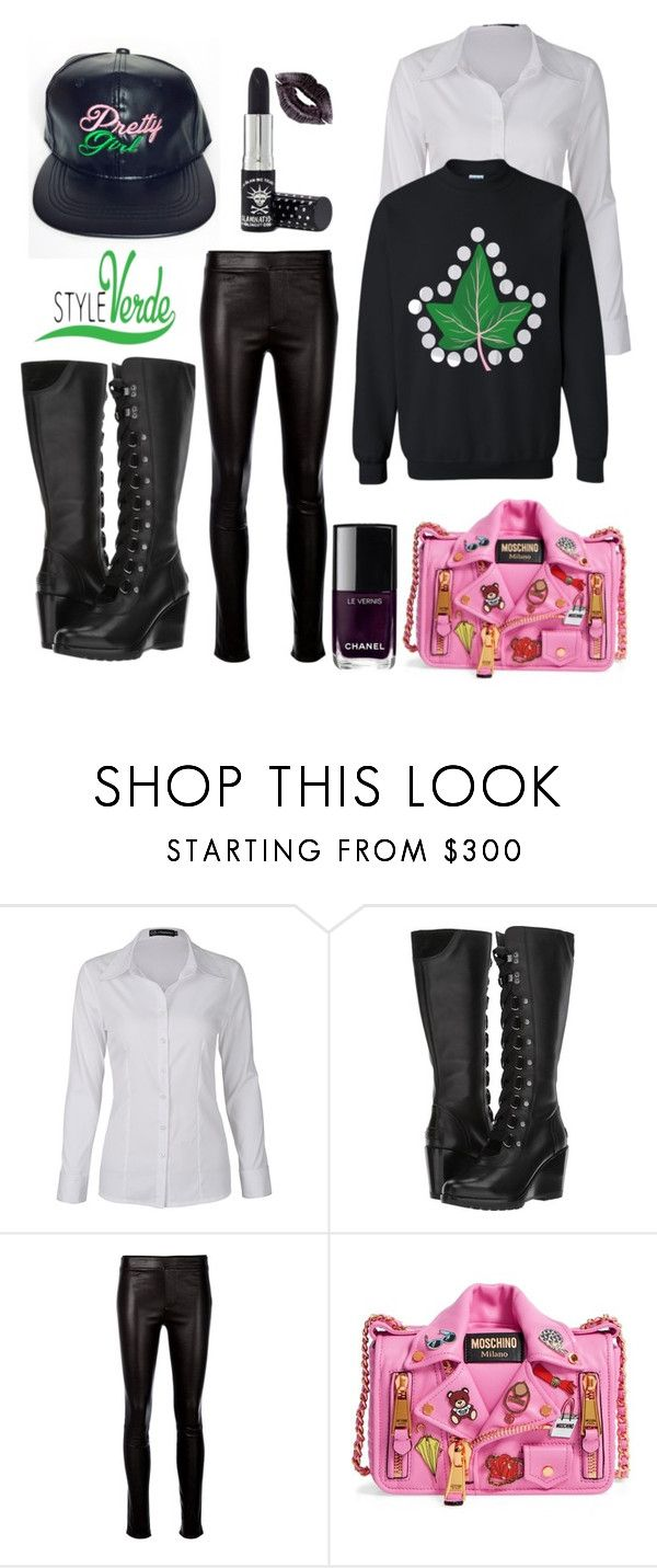 """Untitled #4"" by cagreinvented on Polyvore featuring SOREL, Helmut Lang, Moschino, Manic Panic NYC and Chanel"