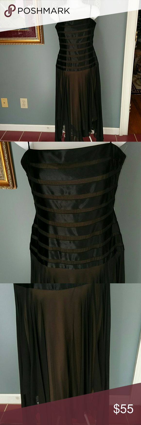 BCBG MAXAZRIA black chefon and satin dress Beautiful Black with spaghetti straps. Zippered in the back. Chefon black with beige lining..tapered bottom. Great for any special occasion or formal. BCBGMaxAzria Dresses Asymmetrical