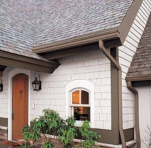 brown gutter and soffit, white siding, white trim