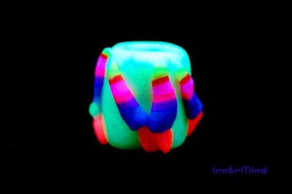 10 mm hole dread bead uv glow in dark dreadlock bead with colorful mushrooms Dread Bead Original Unique