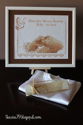 Pamiątka chrztu świętego - Reminder of baptism,  biały len gęstość 32 ct - Linen 32 ct. color white Rozmiar 30 x 25,5 cm