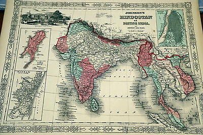 22 best ebay images on pinterest effigy statues and lord ganesha 1864 rare johnson beautiful antique atlas map of india handcolored gumiabroncs Image collections