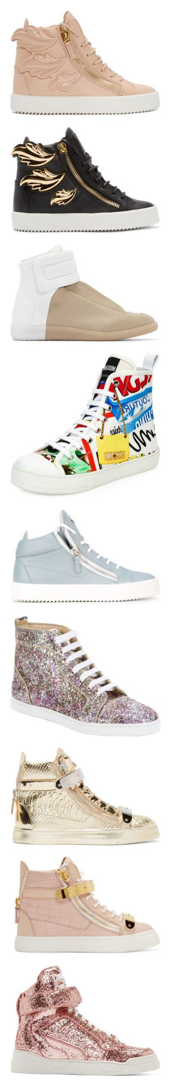"""""""Expensive Shoes"""" by aniahrhichkhidd ❤ liked on Polyvore featuring shoes, sneakers, shell, pink high tops, leather hi top sneakers, high top sneakers, giuseppe zanotti shoes, pink shoes, nero and black high-top sneakers"""