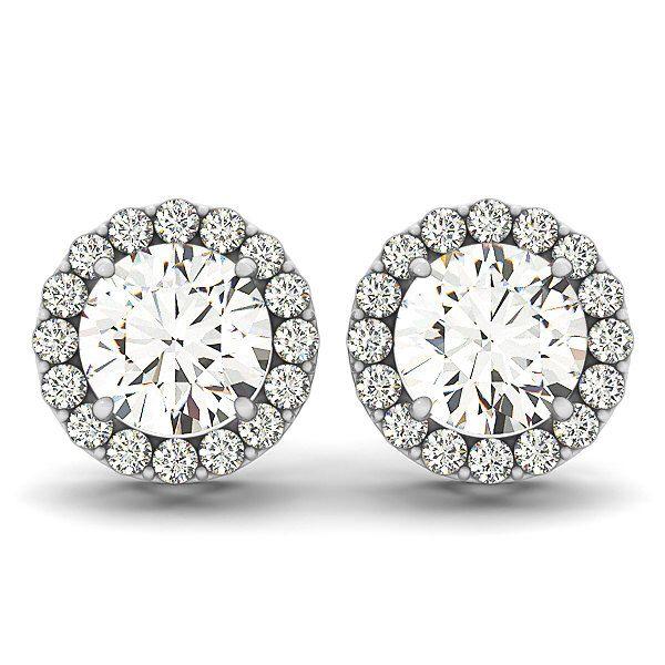 Mossanite Diamond Studs, Moissanite Studs,Halo Diamond Earrings,Moissanite Earrings, Diamond Earrings in 14k White gold. by cldiamonds on Etsy https://www.etsy.com/listing/260233355/mossanite-diamond-studs-moissanite