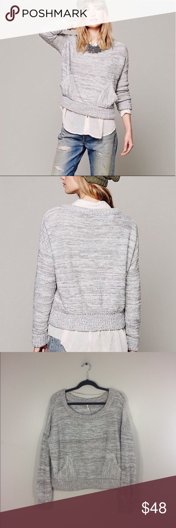 """Free People """"In My Pocket"""" Knit Sweater Has a couple of snags on the right hand sleeve and back of collar: shown in photos. Has a textured feel due to the Wool. Not a heavy weight Sweater. 49% cotton 23% acrylic 16% nylon 10% Wool 2% alpaca. 24"""" length: 25.5"""" pit to pit: no trades. Free People Sweaters"""