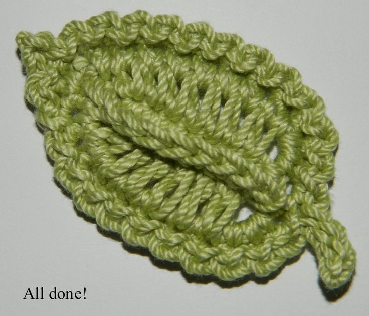 laura's frayed knot: crocheted leaf