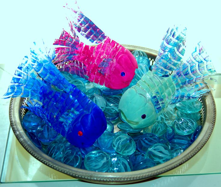 Recycled water bottle fish.