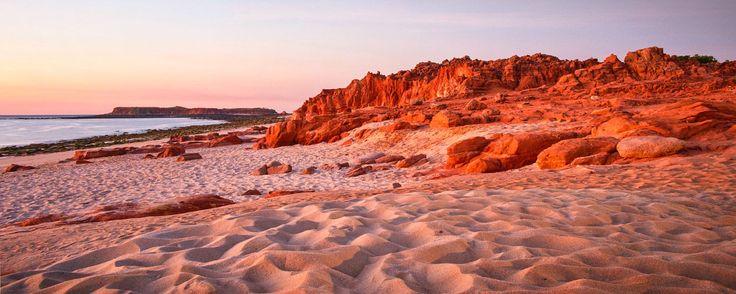 Copyright, 2016. Natalie Uscinas. Sunset on Pindan clay cliffs. Kooljaman Resort. Western Australia.
