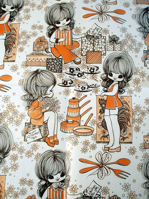 Vintage wrapping paper - my tatty devine wish list inspiration board - #ColourfulXmas