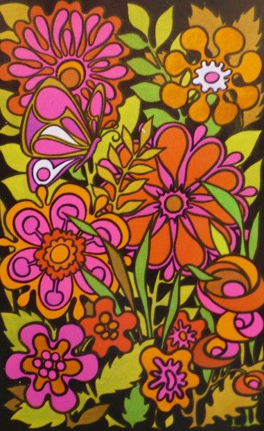 Psychedelic Flowers - childhood memories! I had a 3-ring binder like this.