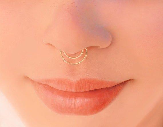 fake piercing FAKE Septum ring non-piercing nose ring gift for her fake septum ring Sterling silver nose ring