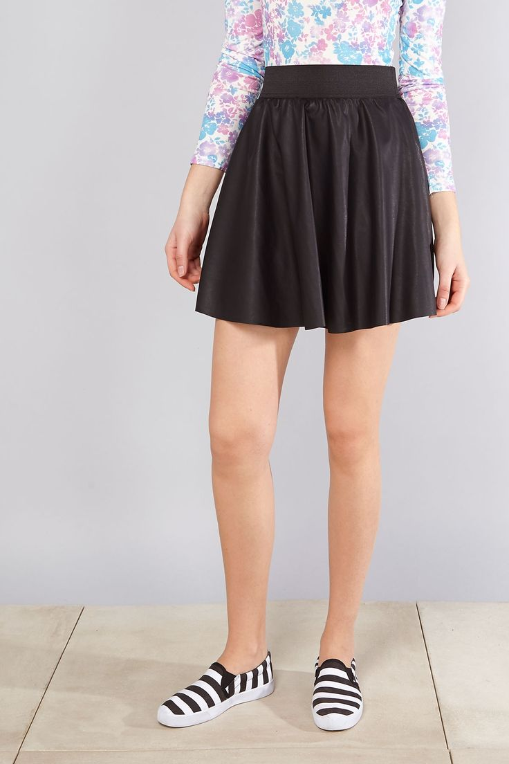 My #closet: rockin' any #outfit with this black #fauxleather #skaterskirt by @terranovastyle #casualstyle