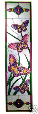 "42"" Stained Art Glass Butterfly Window Panel Suncatcher"
