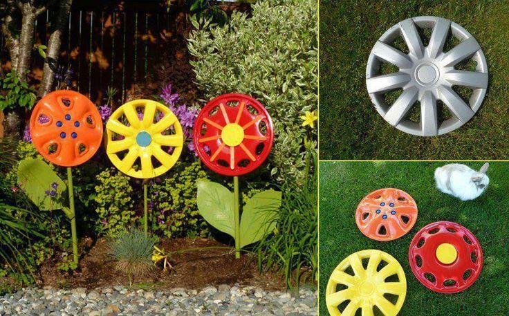 Calotas de carro, decoração para o jardim!