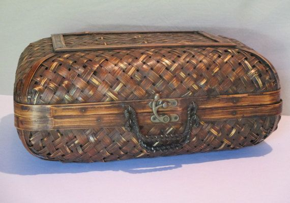 Bamboo and Brass Suitcase, Vintage, Tropical Decor Storage, Photo Display Prop