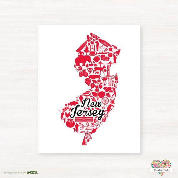 New Brunswick, New Jersey Landmark State Giclée Print - 8x10 - Rutgers University Map Art - Graduation Gift Idea - Dorm Decor