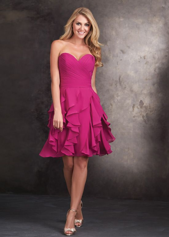 interesting Fuchsia Ruffled Chiffon Strapless Sweetheart Playfully Short Prom Dress [Allure Bridesmaids 1418 Fuchsia] - $155.00 : Hot Trends Homecoming Dresses,Prom Dress,Wedding Dress,Bridesmaid Dresses,Prom Shoes For Prom & Homecoming 2015 On Sale by Jasmine in Retroterest. Read more…