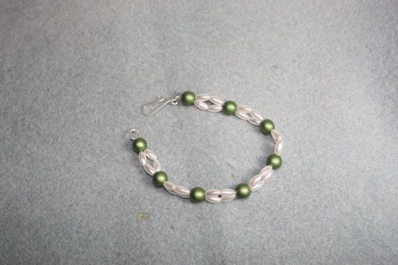 Green and Pearl Bracelet for Bride or Bridesmaid