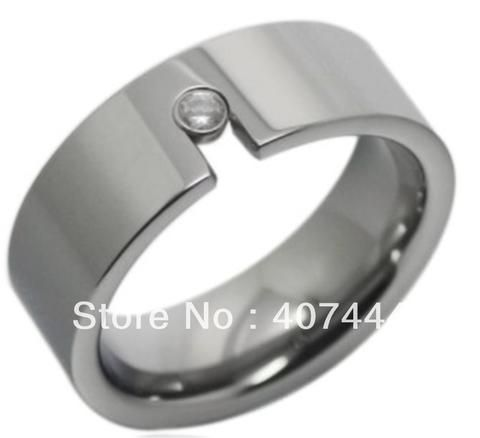 High Polish & Inlay CZ Tungsten Ring 8mm - Shop With Bitcoin