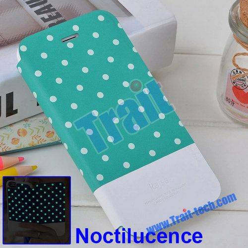 Kajsa Polka Dots Noctilucent Wallet Style Flip Stand PC+PU Leather Case for iPhone 6 Plus 5.5 inch (Baby Blue)