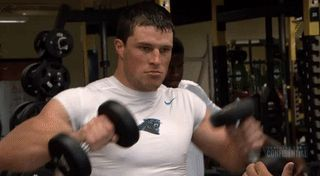 When that guy at your gym thinks you're checking him out Many thanks to whomever made this GIF of Luke Kuechly showing off that dangerous body while simultaneously being completely goofy and sexy;) He's just the best, my abs r sore from giggling so hard I lov this man #CarolinaPanthers #Luuuke #PantherNation #KeepPounding #Luke Kuechly