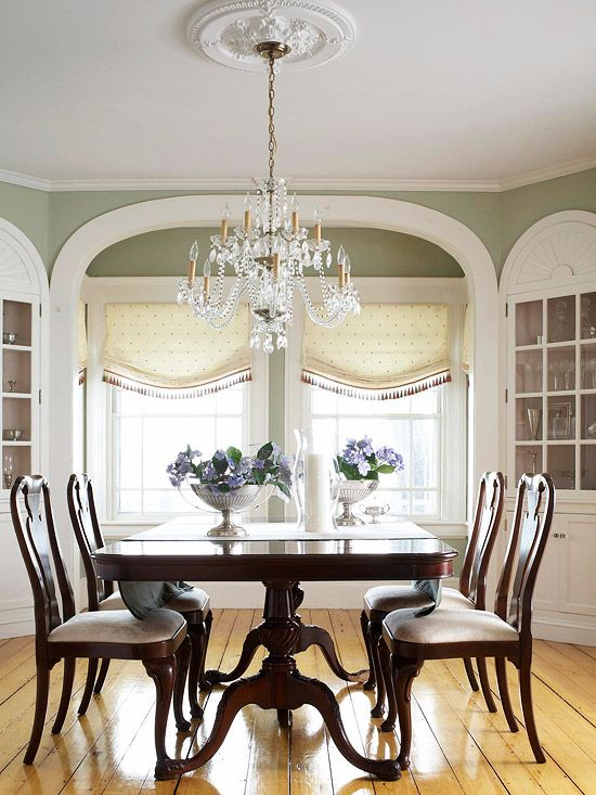 Love this formal dining room. Our dining room was painted moss green by the former owners, i think this was the look they were after...but didn't quite get...