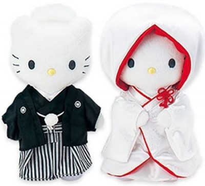 Hello Kitty and Daniel wearing traditional Japanese wedding outfits - have these :)