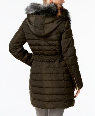 Michael Michael Kors Faux-Fur-Collar Hooded Down Puffer Coat - Green XXS